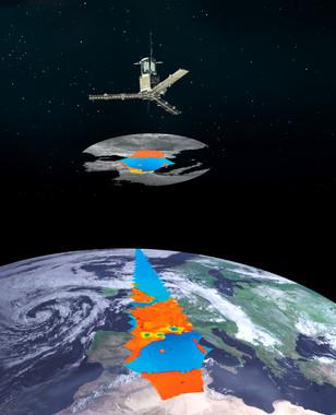 Recreación del satélite SMOS, cuyos datos sobre humedad del suelo ayudan a monitorizar la sequía agrícola. / ESA